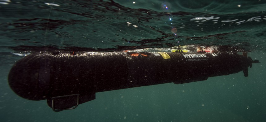 ARABIAN GULF (Sept. 28, 2016) Sailors assigned to Commander, Task Group (CTG) 56.1, Explosive Ordnance Disposal Mobile Unit (EODMU) 1, launch an underwater unmanned vehicle in the Arabian Gulf during routine testing operations.