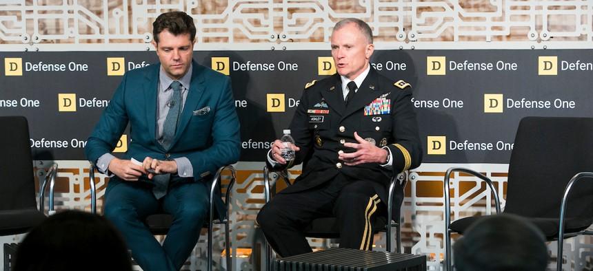 Patrick Tucker and Lt. Gen. Robert Ashley at the Defense One Technology Summit, June 26, 2018.
