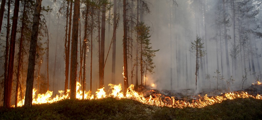 In this photo taken on Sunday, July 15, 2018, a wildfire burns in Karbole, outside Ljusdal, Sweden.