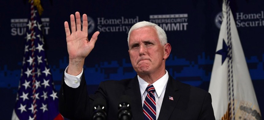 Vice President Mike Pence speaks at the Department of Homeland Security National Cybersecurity Summit in New York, Tuesday, July 31, 2018.