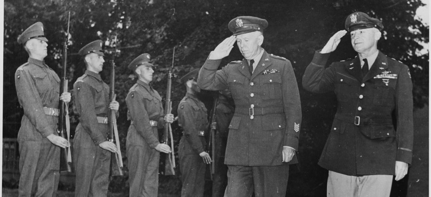 """Gen. George C. Marshall, U. S. Army Chief of Staff, and Gen. Henry """"Hap"""" Arnold, Commanding General, U. S. Army Air Forces, arrive at the residence of Prime Minister Winston Churchill for a dinner given by the British Prime Minister on July 23, 1945."""