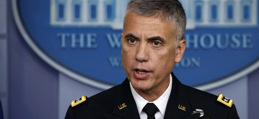 National Security Agency Director Gen. Paul Nakasone speaks during the daily press briefing at the White House, Thursday, Aug. 2, 2018