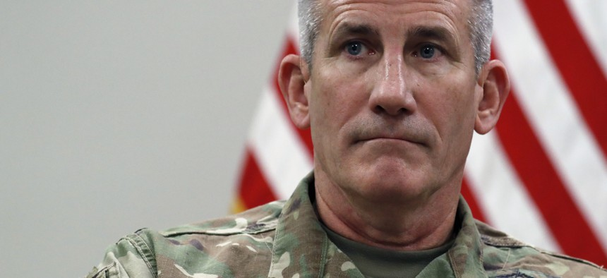 A 2017 photo of Gen. John Nicholson, commander of Operation Resolute Support, at Bagram Air Field, Afghanistan.