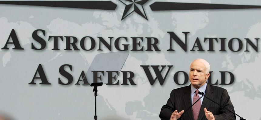During his presidential run, Sen. John McCain, R-Ariz., spoke for nuclear disarmament at Denver University on May 27, 2008.