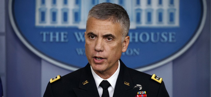 National Security Agency Director Gen. Paul Nakasone speaks during the daily press briefing at the White House, Thursday, Aug. 2, 2018, in Washington.
