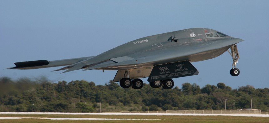 A B-2 Spirit bomber, from the 509th Bomb Wing at Whiteman Air Force Base, Mo., takes off for a mission during an air and space expeditionary force deployment at Andersen Air Force Base in Guam.