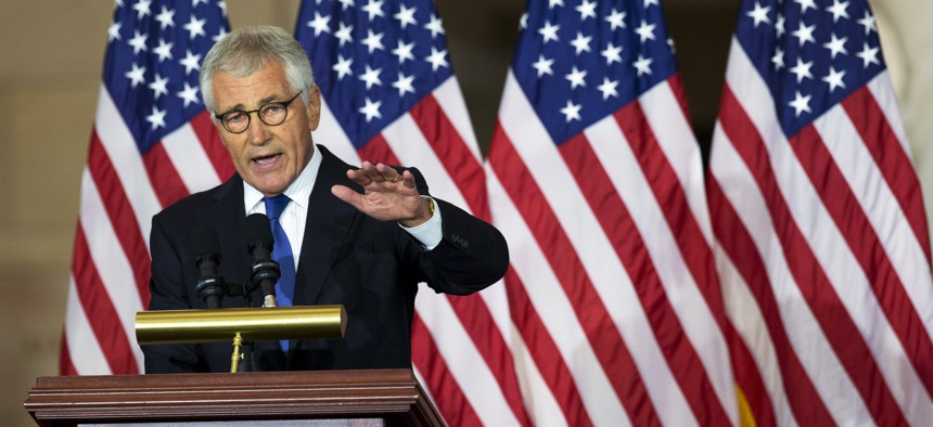 Former Secretary of Defense Chuck Hagel, speaks about his experiences as a soldier fighting in Vietnam, during a ceremony to commemorate the 50th anniversary of the Vietnam War on Capitol Hill in Washington, Wednesday, July 8, 2015.