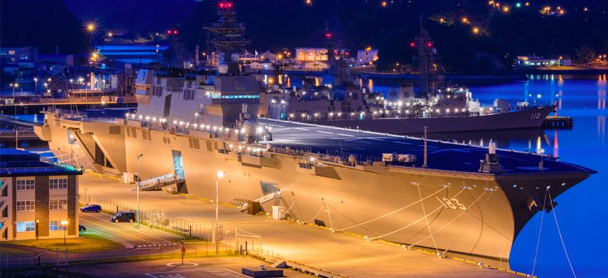 Japan's Izumo helicopter carrier, pierside at Yokosuka naval port in Toyko, Japan, in May 2015.