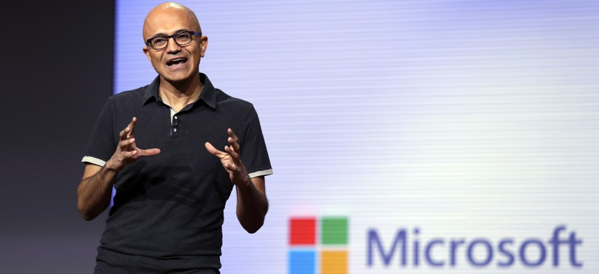 Microsoft CEO Satya Nadella delivers the keynote address at Build, the company's annual conference for software developers Monday, May 7, 2018, in Seattle.