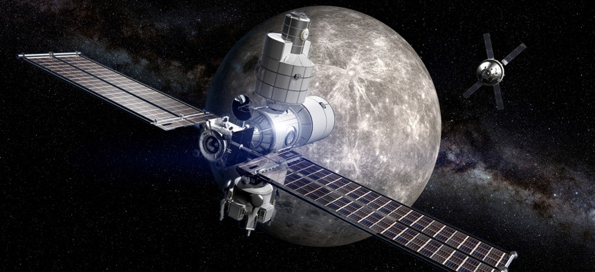 A concept of an orbital moon station from Boeing.
