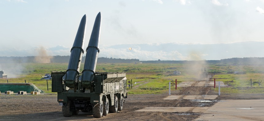 Russia's SSC-8, also called the Novator 9M729 reportedly uses a transporter-erector-launcher similar to the existing 9K720 Iskander vehicle, pictured here August 20, 2018.