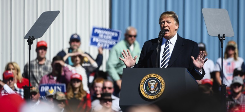 President Donald Trump speaks at a campaign rally on Saturday, Oct. 20, 2018 in Elko, Nev.