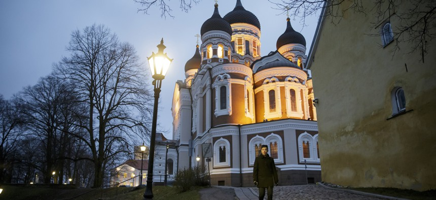 Hayden Szeto in front of the St. Alexander Nevsky Cathedral as he walks through the streets of Tallin Old Town on Monday, Nov. 21, 2016 in Tallinn, Estonia.