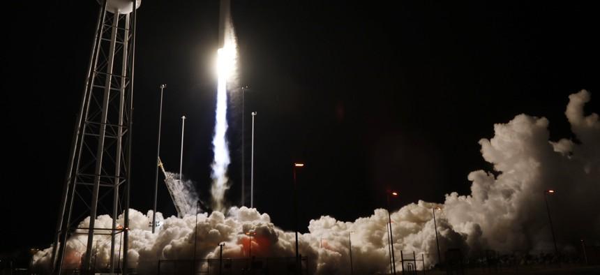 Northrop Grumman Antares rocket lifts off from the launch pad at NASA's Wallops Flight Facility in Wallops Island, Va., Saturday, Nov. 17, 2018.