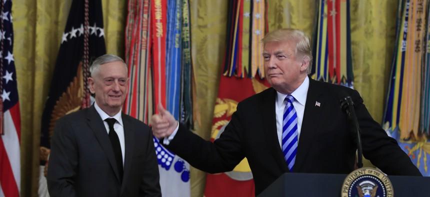 President Donald Trump with Defense Secretary Jim Mattis.