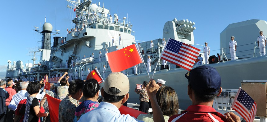 People's Liberation Army-Navy ship Qingdao (DDG 113) arrives in Hawaii for a scheduled port visit in 2014.