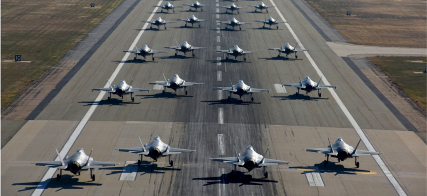 Pilots from the 388th and 419th Fighter Wings taxi F-35As on the runway in preparation for a combat power exercise Nov. 19, 2018, at Hill Air Force Base, Utah.