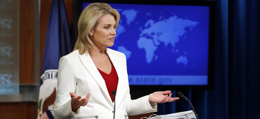 State Department spokeswoman Heather Nauert speaks during a briefing at the State Department in Washington, Wednesday, Aug. 9, 2017.