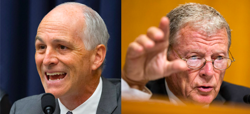 Rep. Adam Smith, D-Wash., left, and Sen. Jim Inhofe, R-Okla., will take control of the House and Senate Armed Services Committees, respectively, in January 2019.