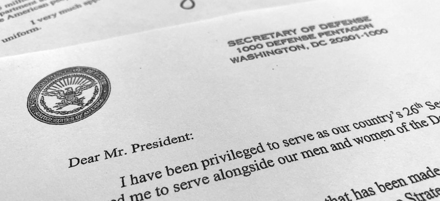 Part of Defense Secretary Jim Mattis' resignation letter to President Donald Trump is photographed in Washington, Thursday, Dec. 20, 2018. Mattis is stepping down from his post, Trump announced, after the retired Marine general clashed with the president.