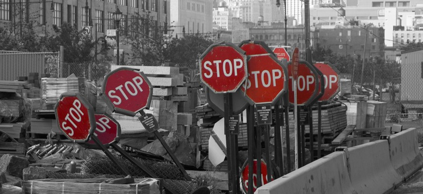Stop signs, New York City. Or are they?
