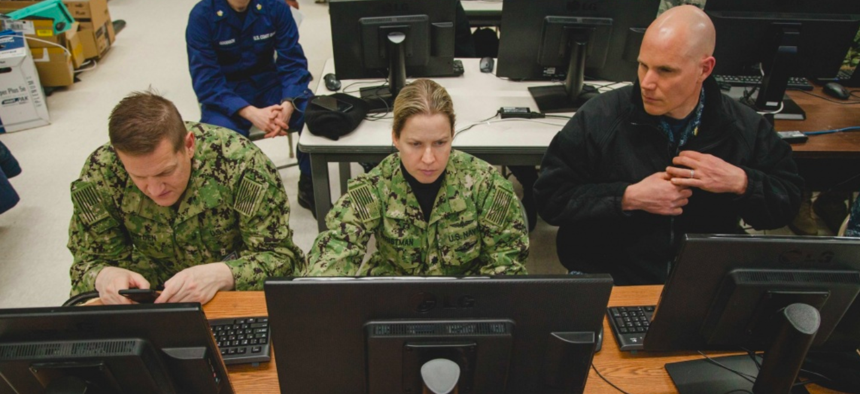 U.S. Navy sailors try out a web-based tool for managing patient information during Exercise Arctic Care 2018.