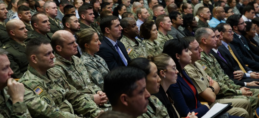 Inside the Pentagon, senior military leaders sat silent as President Trump attacked Democrats during a missile defense speech Jan. 17, 2019.