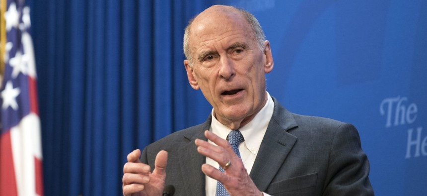 In this Oct. 13, 2017, file photo, Director of National Intelligence Dan Coats speaks at a Heritage Foundation event in Washington.