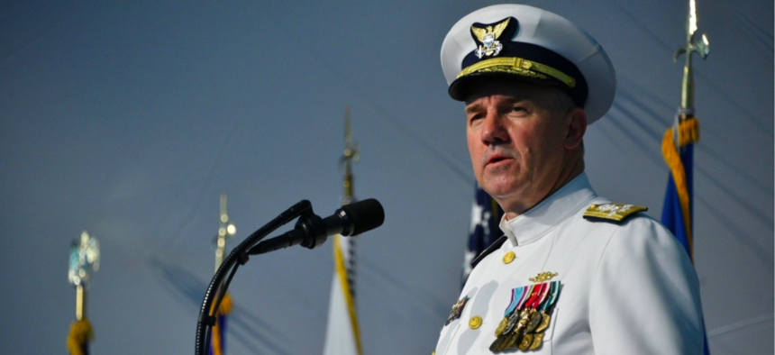 Adm. Karl Schultz speaks during a change of command ceremony at Coast Guard Headquarters in Washington, D.C., June 1, 2018.