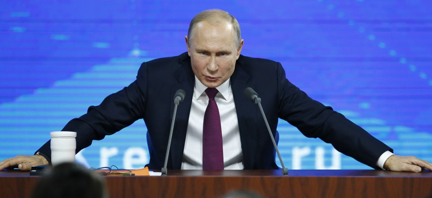 Russian President Vladimir speaks during his annual news conference in Moscow, Russia, Thursday, Dec. 20, 2018.