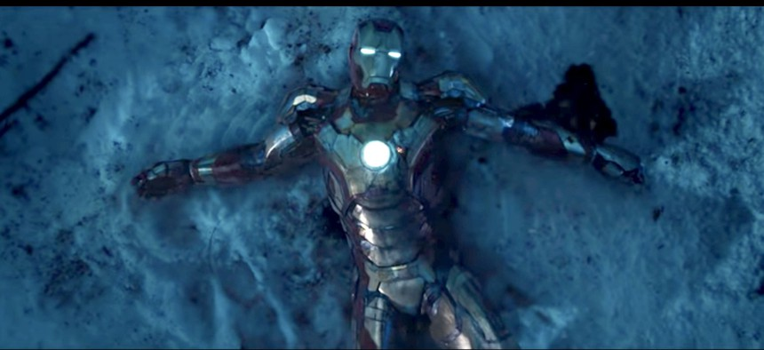 A still from the movie Iron Man 3 from Marvel Entertainment.