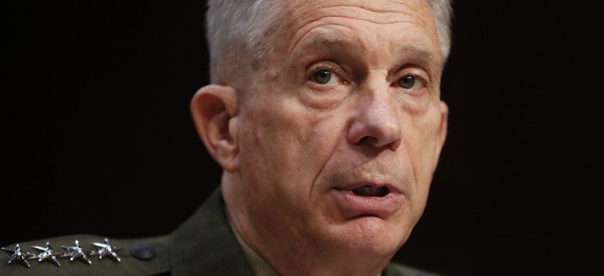 US Africa Command commander Gen. Thomas Waldhauser testifies at the Senate Committee on Armed Services on Capitol Hill in Washington, Tuesday, March 13, 2018.