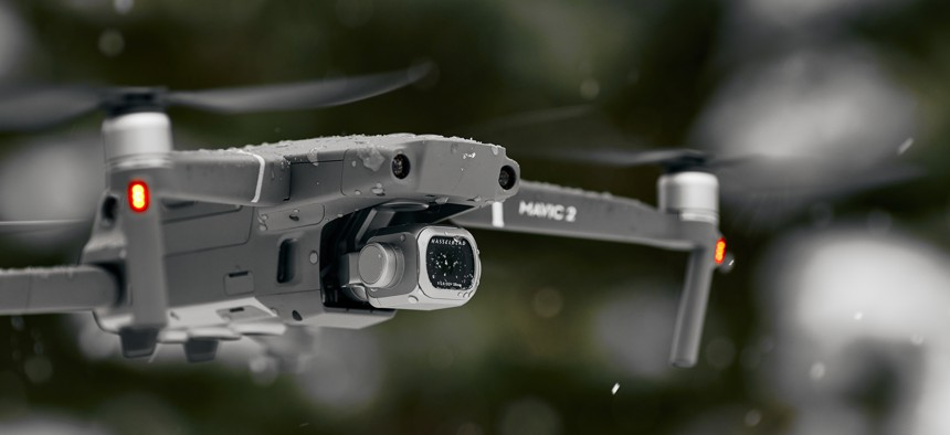 DJI Mavic 2 Pro, flying in wet snow conditions in Rostov-on-Don, Russia.