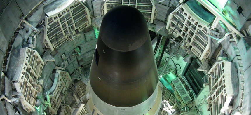 A view from above the silo housing a Titan II missile at the Titan Missile Museum in Green Valley, Arizona.