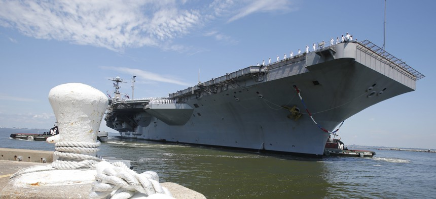 USS Harry S. Truman arrives at Naval Station Norfolk in Norfolk, Va., Wednesday, July 13, 2016, after supporting missions over Iraq and Syria.