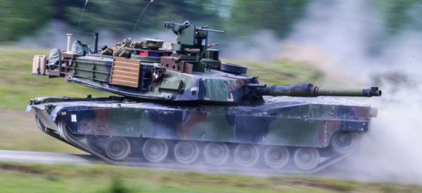 A 2016 photo of a 3rd Infantry Division tank at the 7th Army Joint Multinational Training Command's Grafenwoehr Training Area, Grafenwoehr, Germany.