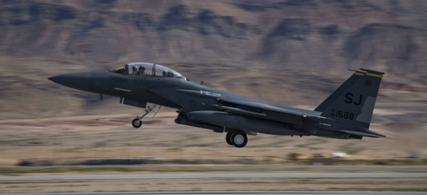 An F-15E Strike Eagle fighter jet, a variant of the proposed F-15X, assigned to the 4th Fighter Wing, Seymour Johnson Air Force Base, N.C., takes off to participate in Red Flag 19-2 at Nellis AFB, Nev., March 12, 2019.