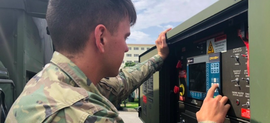 A Soldier with 1st Battalion, 1st Air Defense Artillery, 38th Air Defense Artillery Brigade, performs equipment checks during the unit's participation in Resilient Shield 19 validating its role as the U.S. missile defense system on Feb. 21, 2019, Okinawa,