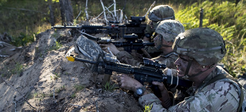 U.S. paratroopers from the 82nd Airborne Division from Fort Bragg in North Carolina take part in 'Saber Strike 2018' a major U.S.-led military exercise with 18,000 soldiers from 19 primarily NATO countries outside of Vilnus, Lithuania, June 9, 2018.