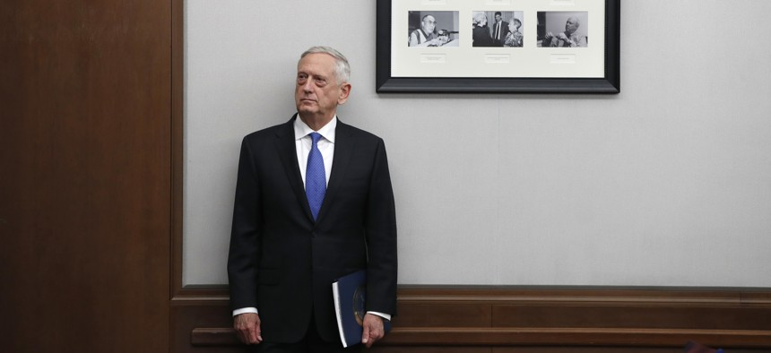 Defense Secretary James Mattis listens to his introduction before speaking about the National Defense Review, Friday, Jan. 19, 2018.