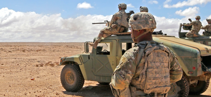 Soldiers from the 1st Squadron, 75th Cavalry Regiment, 2nd Brigade Combat Team, 101st Airborne Division, work alongside their Royal Moroccan Armed Forces partners near Tan Tan, Morocco, March 27, 2019, during exercise African Lion 2019.