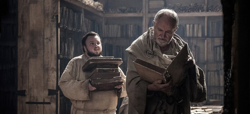 Samwell Tarly, left, a junior intelligence officer of sorts, helps sort through after-action reviews at The Citadel.