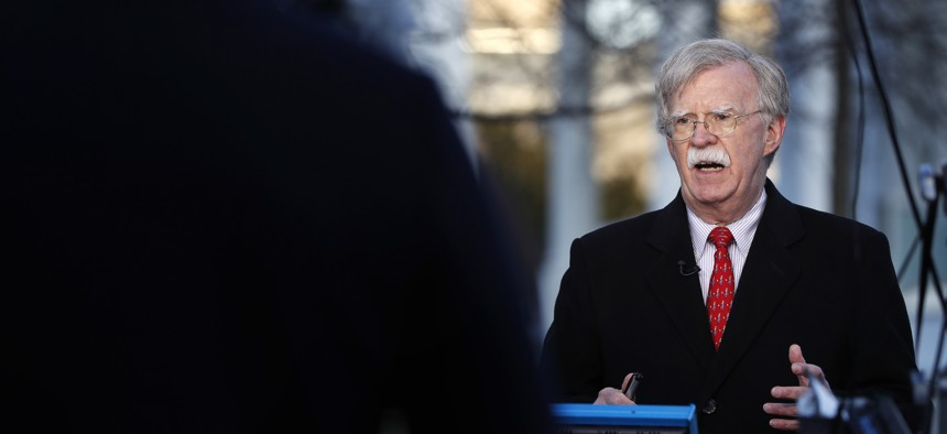 National security adviser John Bolton is interviewed, Tuesday, March 5, 2019, at the White House in Washington.