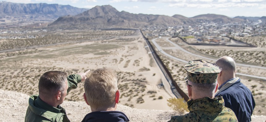 Acting Secretary of Defense Patrick Shanahan, and Marine Corps Gen. Joe Dunford, chairman of the Joint Chiefs of Staff, tour a section of the US-Mexico border at Santa Teresa Station in Sunland Park, New Mexico, Feb. 23, 2019.