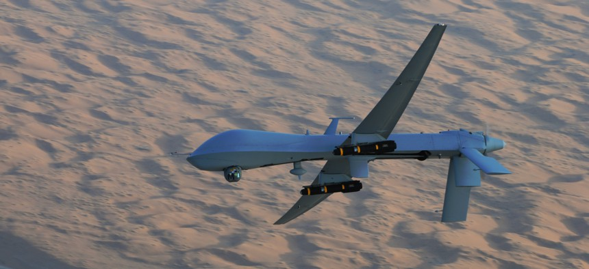 The new Hellfire variant probably looks a lot like the ones hanging off this MQ-1 Predator over southern Afghanistan.