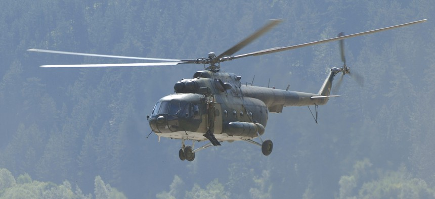 A Russian-made helicopter flown by the Bosnian Army in 2010.
