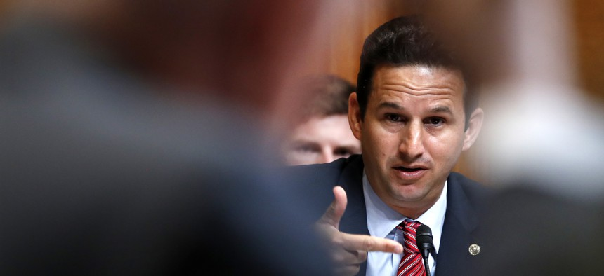 In this photo from May 9, 2018, Sen. Brian Schatz, D-Hawaii, puts a question to then-Defense Secretary Jim Mattis during a Senate Appropriations subcommittee hearing on the FY19 budget on Capitol Hill in Washington.