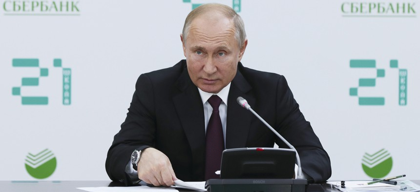 Russian President Vladimir Putin speaks during a meeting on a development of artificial intelligence technology at School 21 educational centre for software engineering in Moscow, Russia, Thursday, May 30, 2019.