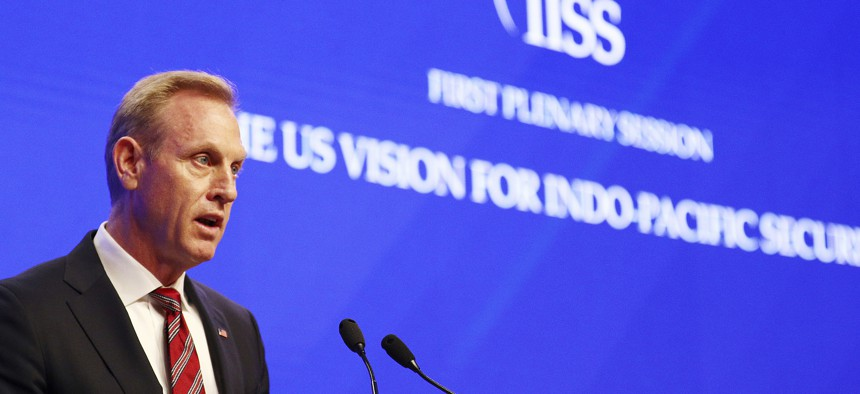 """Acting U.S. Secretary of Defense Patrick Shanahan delivers his speech entitled """"The U.S. Vision for Indo-Pacific Security"""" at the 2019 IISS Shangri-la Dialogue in Singapore on June 1, 2019."""