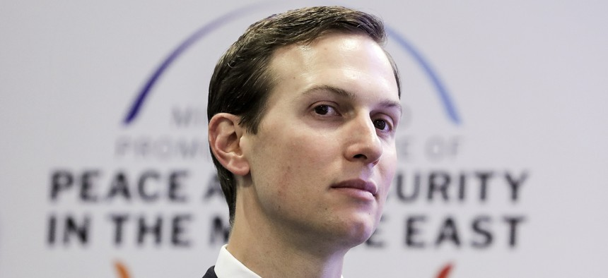 White House Senior Adviser Jared Kushner is pictured at a conference on Peace and Security in the Middle East in Warsaw, Poland, Thursday, Feb. 14, 2019.